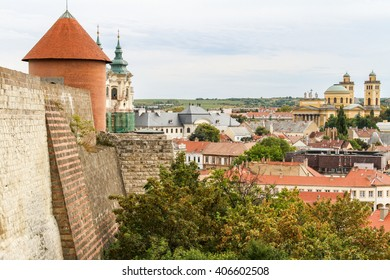 The view of the Basilica from the ruins of the Castle of Eger, Hungary