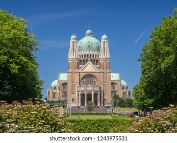 The view of Basilica of the Sacred Heart (Sacre Coeur) captured from the local park of Brussels city, Belgium