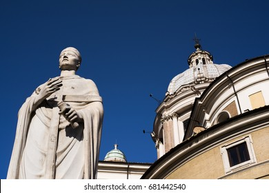 View of the Basilica of Saints Ambrose and Charles the Corso, Rome