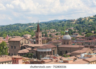 View from the Basilica of San Petronio on the historic center of Bologna, Emilia Romagna, Italy, including old church towers and houses.