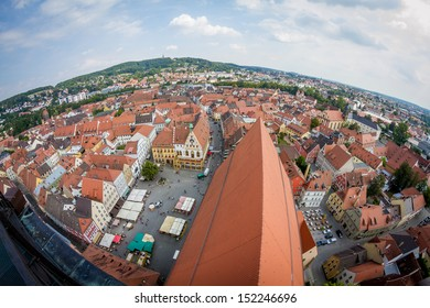 view from basilica St. Martin above the city of Amberg, Germany