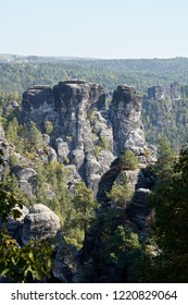 View from the Bastei Bridge at Rathen on the rocks of the Elbe Sandstone Mountains