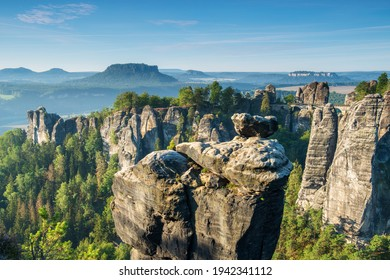 View to the Bastei Bridge and Rock Formations in the Elbe River Valley, Saxon Switzerland National Park, Germany