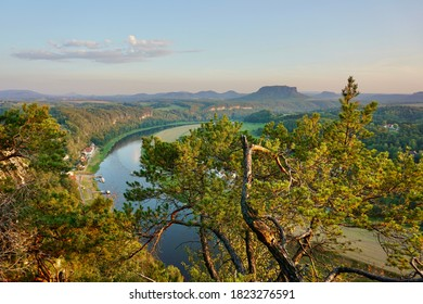 View from the Bastei  to the lake Elbe in the Sächsische Schweiz, Germany