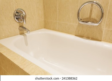 View of a bathtub in a luxurious hotel room