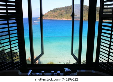 View from a bathtub overlooking the ocean in Malaysia, Asia