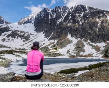 The view of Batizovske lake and the highest peak of High Tatras mountains,  Gerlachovsky stit, High Tatras, Slovakia