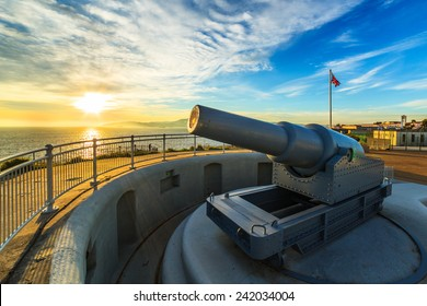 A view of a battery installed in Gibraltar's Upper Rock, Gibraltar