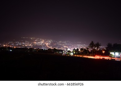 View of Batu City, Indonesia at night