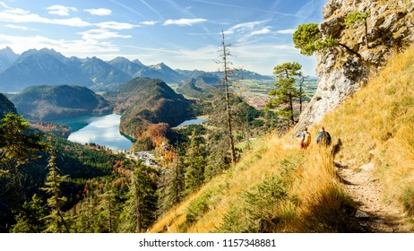View of the Bavarian mountain valley, from the top of German Alps. Bavarian Alps in autumn. Mountain lakes in Bavarian Alps in autumn. Mountain landscape from above. View of the Alps mountains.