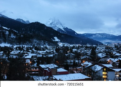 A view of the Bavarian town of Garmisch-Partenkirchen in Southern Germany. This town lies at the base of Germany's tallest mountain, the Zugspitze.