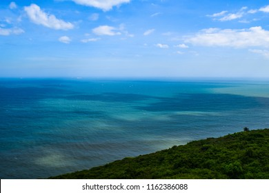 View of Bay of Bengal and Visakhapatnam coastline (vizag) from the Dolphin hill lighthouse in the city - Vizag, Andhra Pradesh Tourism, India.
