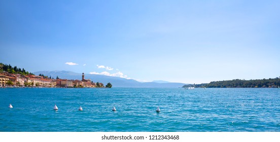 View of the Bay with the City of Salo in Lake Garda, Italy