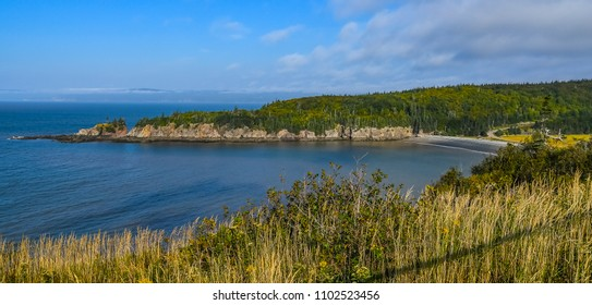 View of the Bay of Fundy from above Cape Enrage in New Brunswick, Canada