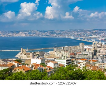 view of the bay and islands from the top of a hill in marseille in summer