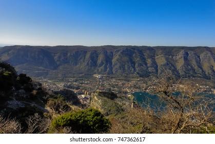 View of the Bay of Kotor. Adriatic sea. Montenegro