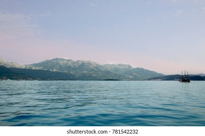 A view of the Bay of Kotor, the Adriatic Sea near the town Tivat, Montenegro