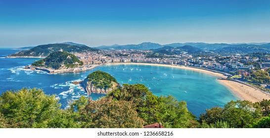 View of the bay of La Concha and the island of Santa Clara from Mount Igeldo. San Sebastian. Basque Country. Spain.
