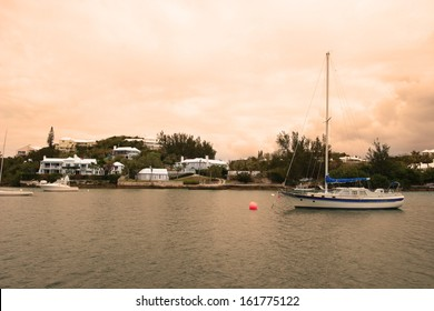 View of a Bay and Luxury Boats Under Stormy Sky on Island of Bermuda, Vintage Romantic Look