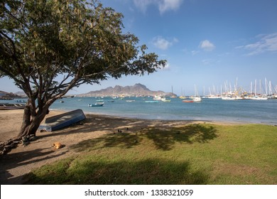View of the bay of Mindelo, Cape Verde.