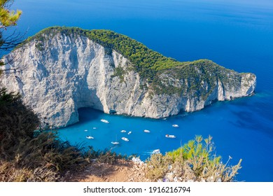 View of the bay of Navagio on the island of Zakynthos. One of the most picturesque views of the islands of Greece