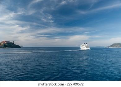 View of the bay near island of Elba, Tuscany, Italy.