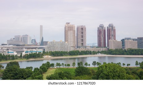 View of the bay of Odaiba with daiba park,mall and hotels.
