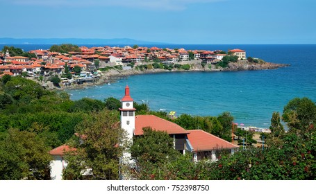 View of the bay and the old part of Sozopol on the Black Sea coast of Bulgaria.