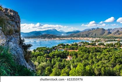 View of the bay of Port de Pollenca on Majorca island, beautiful coast scenery Spain Mediterranean Sea.