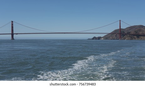 View from the bay side of both south and northern towers and suspension of the iconic Golden Gate Bridge, San Francisco, California, USA
