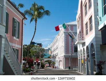 The view of Bay Street crossroad, the main street in Nassau, the capital of The Bahamas.