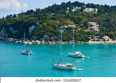 View of the bay and yachts at Lakka harbour on Paxos in Greece