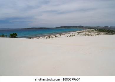 View of beach Arenas Biancas dunes, Teulada, Sulcis