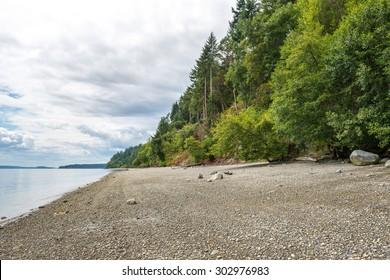 view of the  beach around Tacoma narrow bridge on cloudy day.Wa,usa