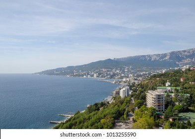 view of the beach and the Black sea from a height, Yalta, Crimea