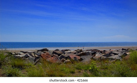 View of the beach, carnoustie, scotland - the home of scottish golf