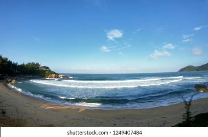 View of beach in Dung Quat beach - Vietnam, on a sunny day.