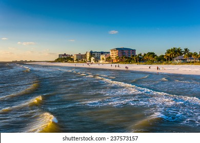 View of the beach from the fishing pier in Fort Myers Beach, Florida.