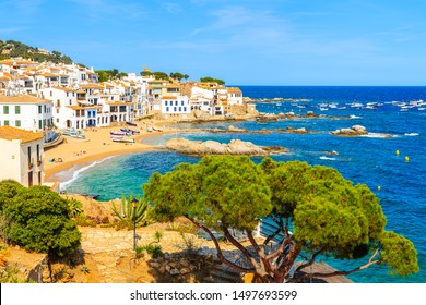 View of beach and fishing village Calella de Palafrugell, Catalonia, Spain.