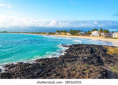 View of the beach in front of Puerto Villamil on Isabela Island in the Galapagos Islands in Ecuador