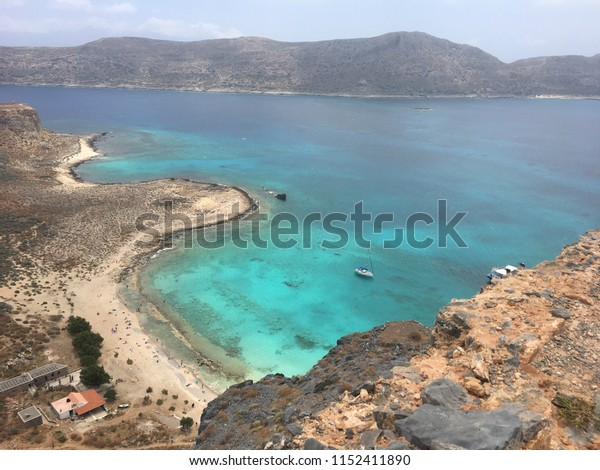 view of a beach in gramvousa island in summer