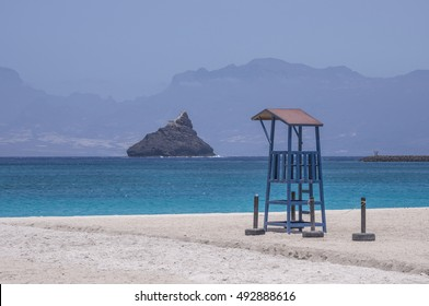 View of the beach of Laginha and watchtower, in Mindelo, island of San Vicente, Cape Verde
