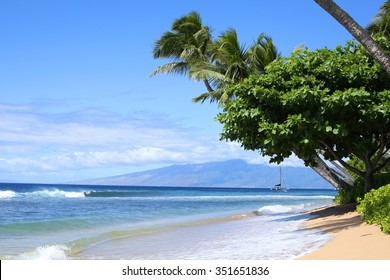 The view of the beach in Lahaina, Hawaii
