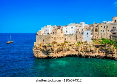 View of the beach lama monachile cala porto in the italian city Polignano. Polignano a Mare, Bari Province, Puglia, southern Italy.