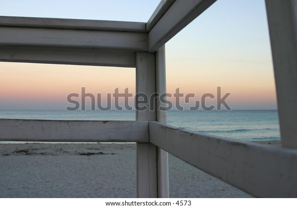 view of beach from lifeguard tower