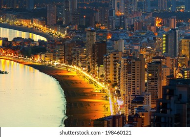 View of the beach at night background coastal city (Spain, Benidorm)
