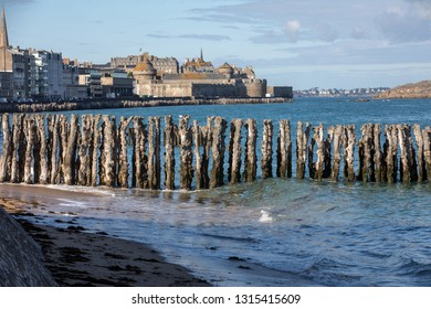 View of beach and old town of Saint-Malo. Brittany, France