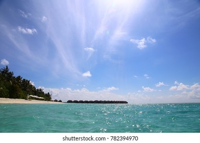 View of the beach with palm trees and azure water. sunny tropical day.agull sky.