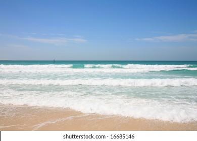 View of the beach and Persian Gulf at Jumeirah, Dubai