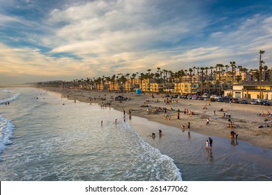 View of the beach from the pier in Oceanside, California.